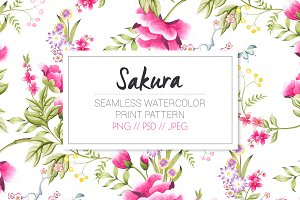 Sakura, a watercolor seamless print.