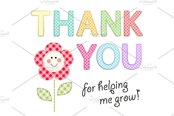 Thank You Card With Retro Gingham Fabric Letters As Festive Garland