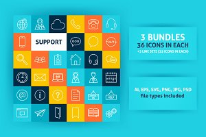 Online Support Line Art Icons