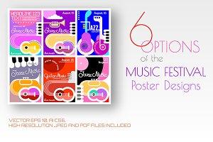 6 Music Festival poster designs