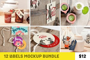12 Labels Mockup Bundle (50% OFF)