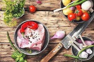 Raw sirloin pork meat
