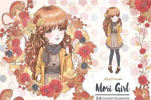Mori Girl Clipart Set
