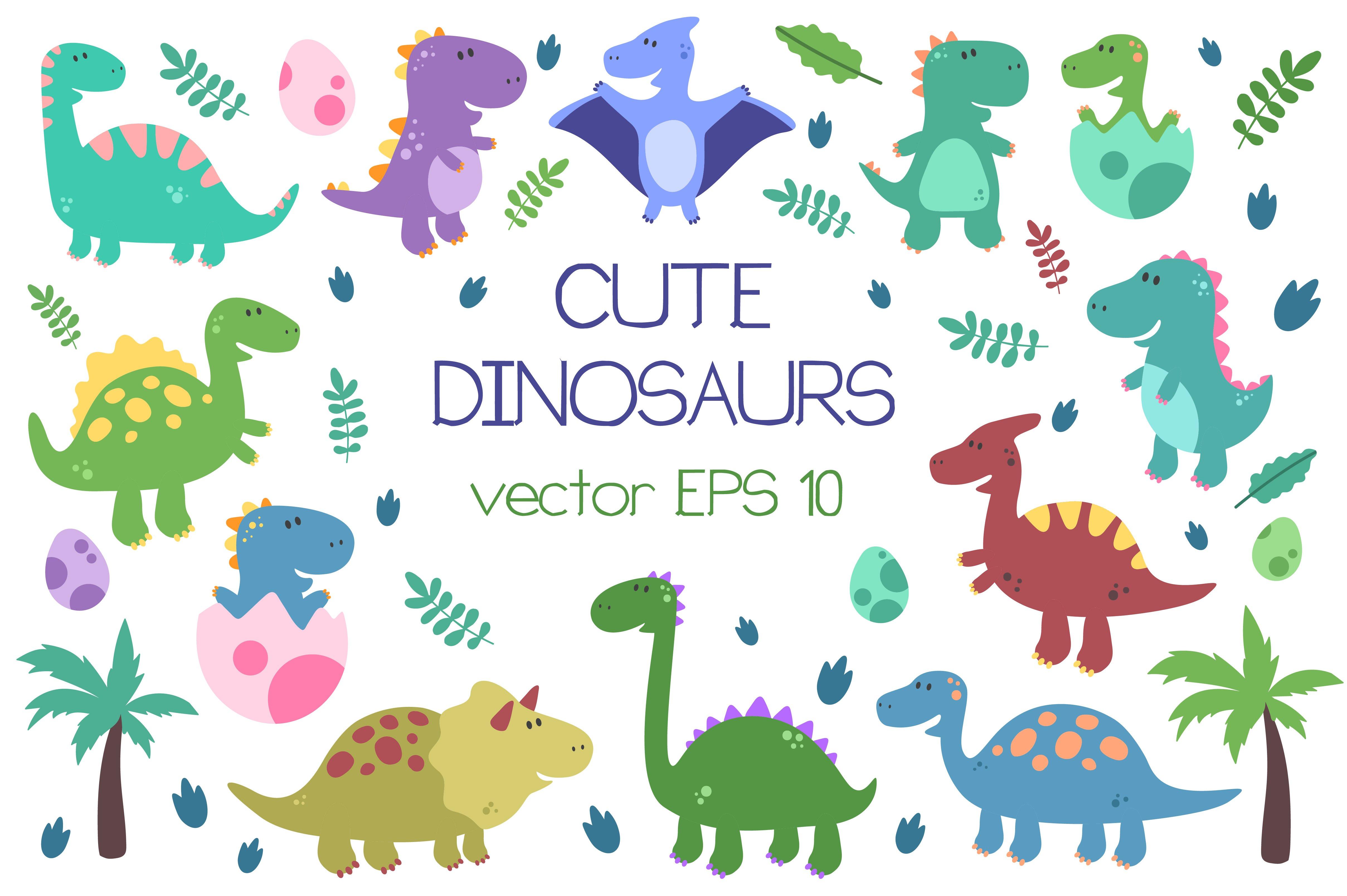 Cute Dinosaurs ~ Illustrations ~ Creative Market