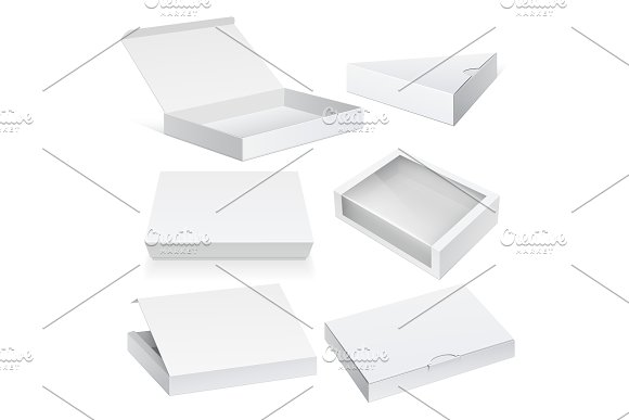 Realistic White Package Boxes