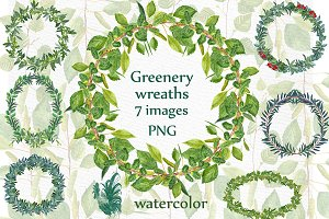 Watercolor Fern Wreaths clipart
