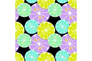 Cute seamless pattern of citrus fruits lemon and lime with simple textures and neon colors