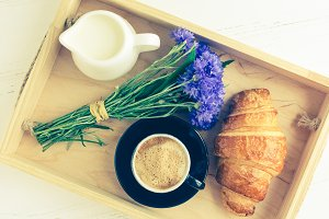 Breakfast with fresh croissant