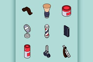 Barber shop outline isometric set