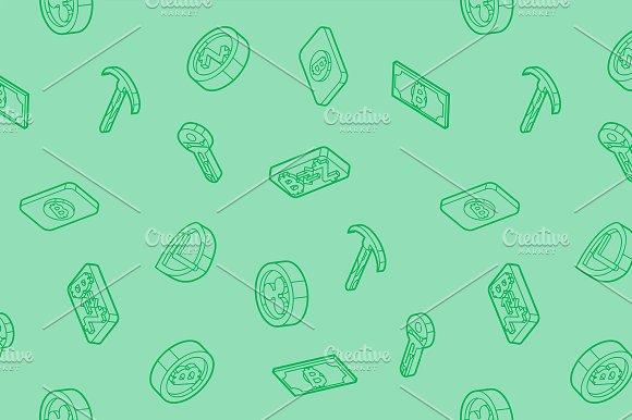 Blockchain Outline Isometric Pattern