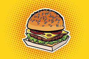 Burger pop art illustration