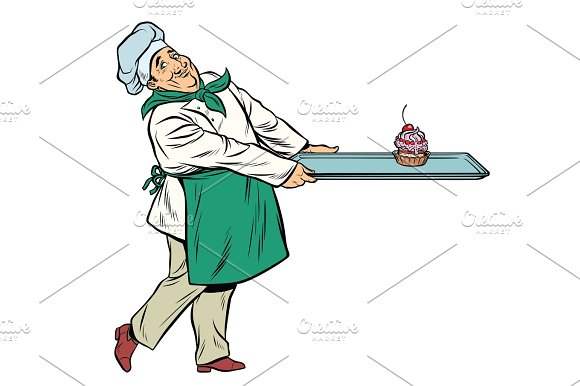 Chef Cook Brings A Tray Of Dessert Cupcake