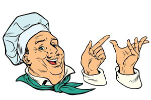 set French or Italian cook and hand gestures