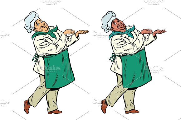 African And Caucasian Chef Holding Hand Gesture