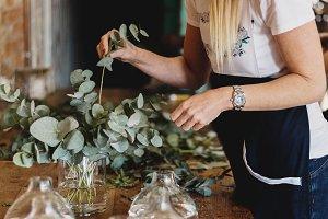 Florist making an arrangement
