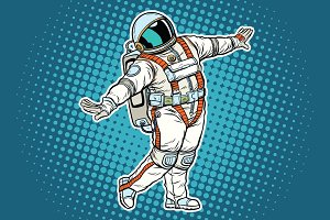 Astronaut dancing, funny gesture
