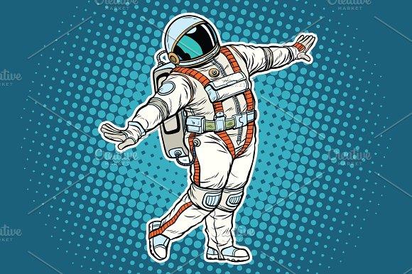 Astronaut Dancing Funny Gesture