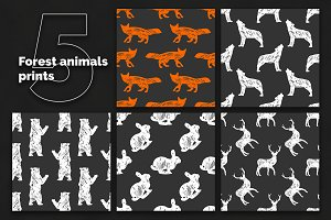 Forest animals 5 seamless patterns
