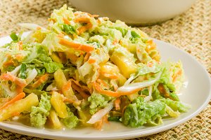 Pineapple onion rice bowl with chicken salad