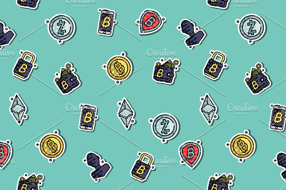 Cryptocurrency Icons Pattern