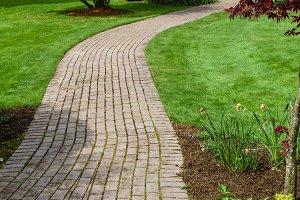 Brick pathway in a park