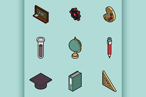 Education flat outline isometric set