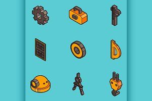 Engineering flat outline icons