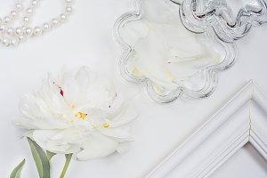 White peony with shiny crystal box