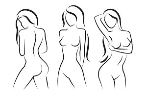 Nude woman vector silhouette