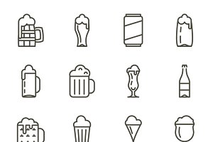 Vector beer glassware icons