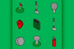 Golf flat outline isometric set