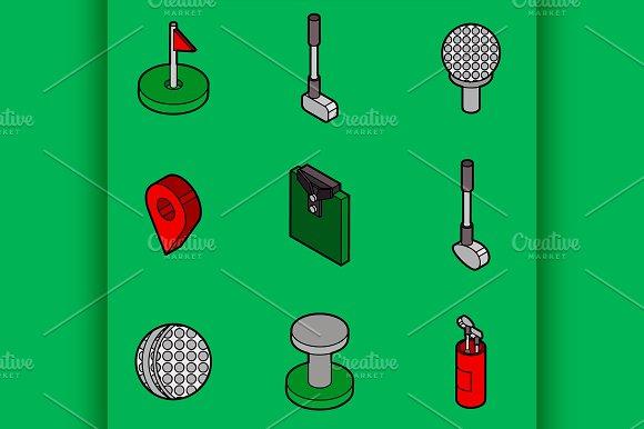 Golf Flat Outline Isometric Set