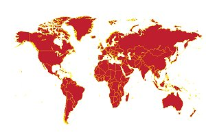World map with borders red