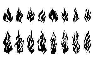 Fire flames tattoo set