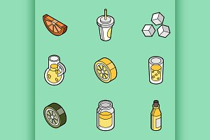 Lemonade flat outline isometric set