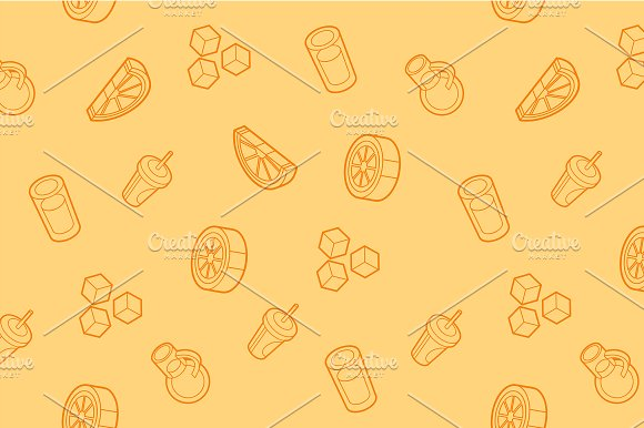 Lemonade Outline Isometric Pattern