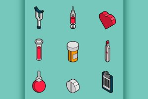 Medical flat outline isometric set