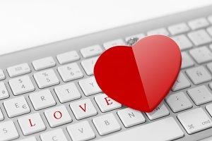 Red heart on keyboard