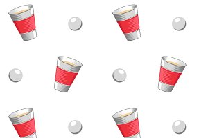 Beer pong vector seamless pattern