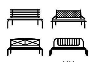 Benches black silhouettes