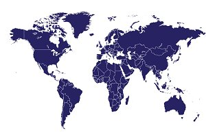 World map with border blue vector