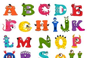 Funny monster alphabet for kids
