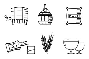Whisky thin line icons
