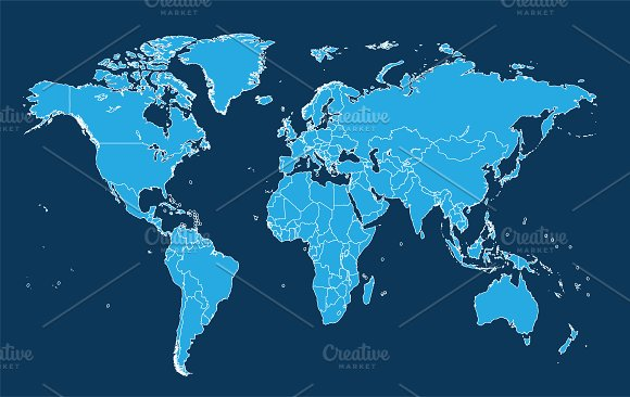World Map With Borders Blue Vector