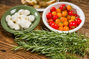 Bread tomatoes and cheese ingredients
