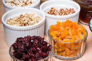 Ingredients for making fresh granola