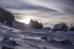 Sunrise in the winter with Cottages