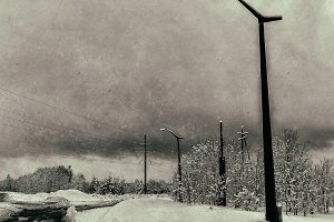 Horizontal dirty vintage USSR industrial power lines background