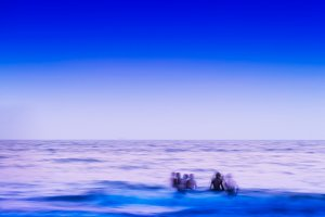 Square vivid children in ocean abstraction background backdrop