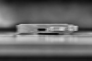 Horizontal vivid black and white computer board blurred bokeh ba